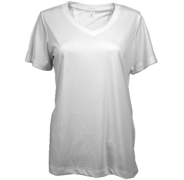 Ladies 100% Poly V-neck
